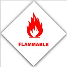 1 x Red on White Flammable-External Self Adhesive Warning Stickers-Bottle Logo-Health and Safety Sign